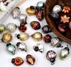 Antique Combo Glass Tiny Christmas Hanging Set of 25