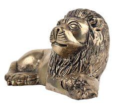 Handmade Golden Brass Sitting Lion Showpiece