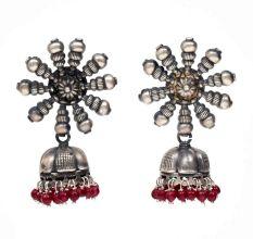 Handmade Oxidized Silver With Sun design Stud Jhumka Jhumki EarringsWith Red Beads