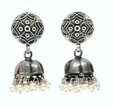 Handmade Oxidized Silver Round Engraved  Jhumki Earrings With Pearl Hangings