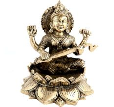 Metallic Idol Goddess Saraswati