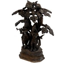 Brass Lord Radhe Krishna Under A Tree With A Peacock For Gifting