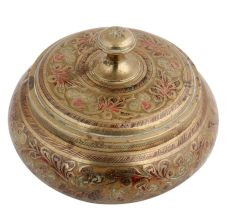 Brass Box Carved Enamel Work With A Lid
