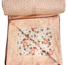 Living Concept Peach Cotton Single Bed Foral Printed Dohar