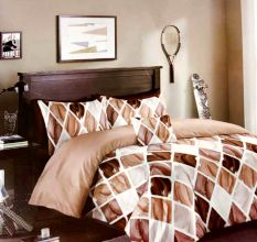 Brown Micro Fabric Geometric Diamond Pattern Double Bed sheets with 2 Complementary Pillow Covers