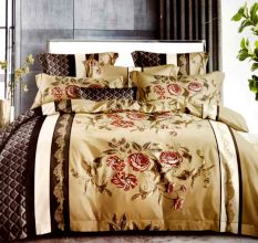 Living Concept Floral Beige And Brown Micro Fabric Double Bed sheet with 2 Pillow Covers