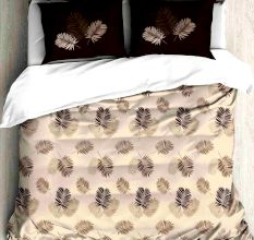 Brown Leaves Design Cotton Double Bed Sheet With 2 Pillow Covers