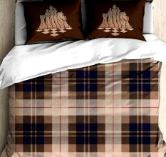 Brown And Blue Cotton Chess Print Double Bed sheet With 2 Pillow Covers