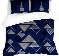 Blue Triangle Design Cotton Double Bed sheet With 2 Pillow Covers