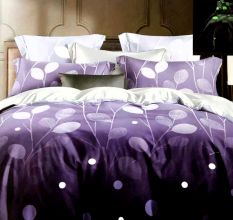 Purple Leaf Micro Fabric Double Bed sheet With 2 Pillow Covers