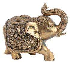 Elephant With Figure Laxmi & Ganesha Big